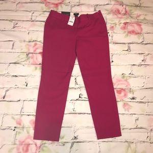 J Crew Hot Pink Cropped Trousers Winnie Pant Sz 2